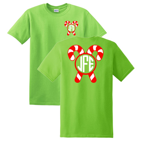 Candy Cane Christmas Monogrammed T-Shirt