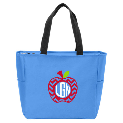 Chevron Apple Monogrammed Zip Tote