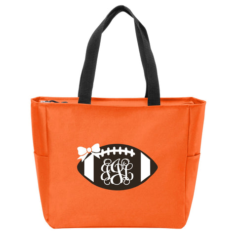Football Monogrammed Zip Tote