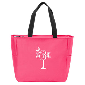 Palm Tree Monogrammed Zip Tote