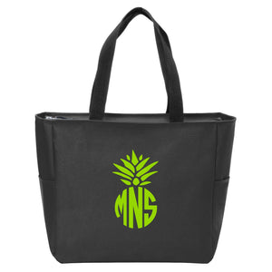 Pineapple Monogrammed Zip Tote