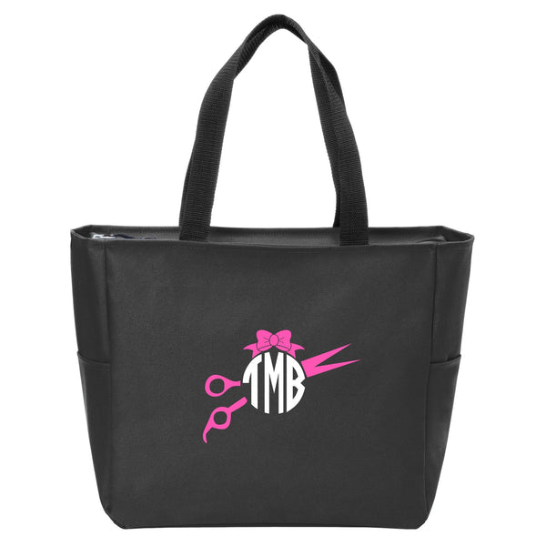 Scissors Monogrammed Zip Tote