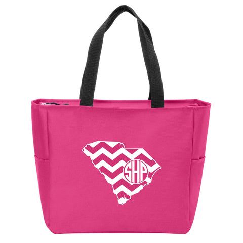 South Carolina Chevron Monogrammed Zip Tote