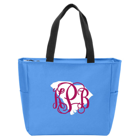 South Carolina Monogrammed Zip Tote