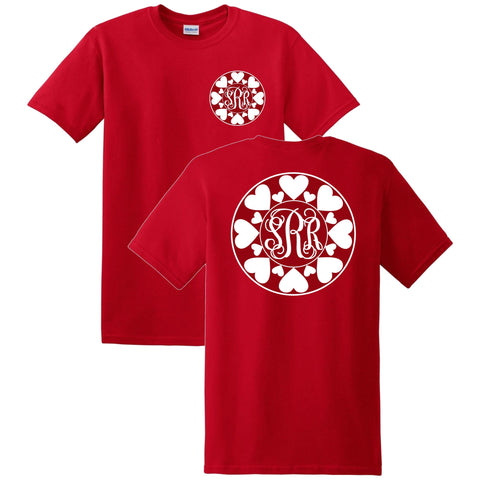 Valentines Hearts Monogrammed T-Shirt