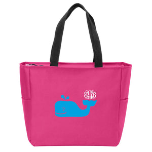 Whale Monogrammed Zip Tote