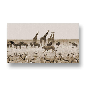 Lion between Animals Canvas Print in Sepia