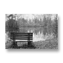 Bench in Autumn Canvas Print in Black and White