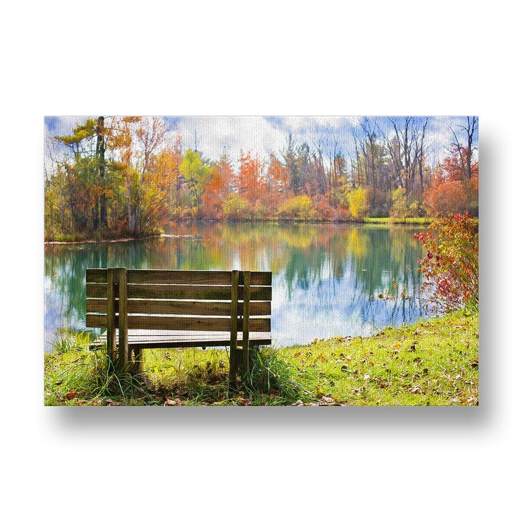 Bench in Autumn Canvas Print in Colour