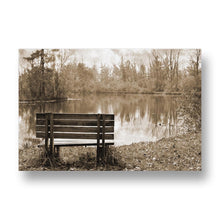 Bench in Autumn Canvas Print in Sepia