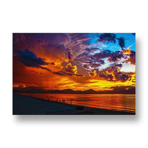 Sunset over Beach Canvas Print in Colour