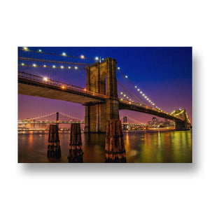 Brooklyn Bridge at Night Canvas Print in Colour