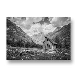Red House in Nature Canvas Print in Black and White
