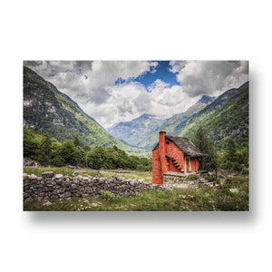Red House in Nature Canvas Print in Colour