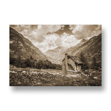 Red House in Nature Canvas Print in Sepia