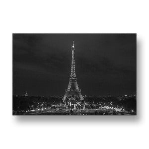 Eiffel Tower at Night Canvas Print in Black and White