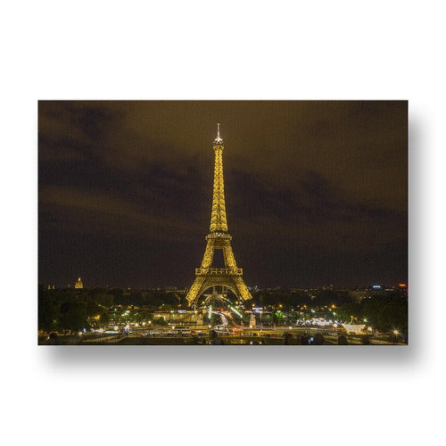 Eiffel Tower at Night Canvas Print in Colour