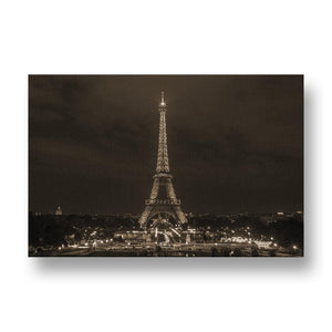 Eiffel Tower at Night Canvas Print in Sepia
