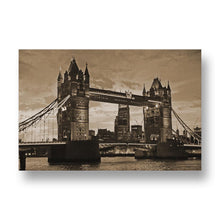 Tower Bridge at Night Canvas Print in Sepia