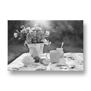 Summer Flowers Still Life Canvas Print in Black and White