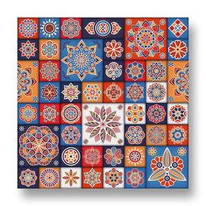 Floral Tiles Canvas Print in Colour