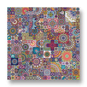 Floral Mosaic Pattern Canvas Print in Colour