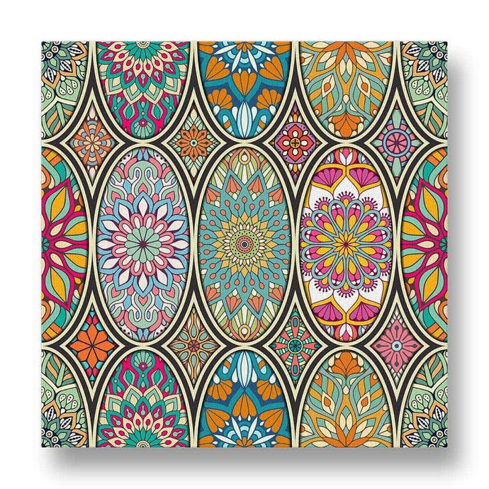 Oval Floral Pattern Canvas Print in Colour