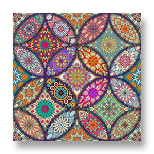 Circular Floral Pattern Canvas Print in Colour