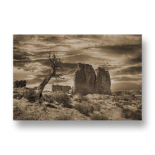 Desert Scene from Bryce Canyon Canvas Print in Sepia