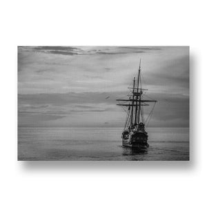 Old Ship on Golden Ocean Canvas Print in Black and White