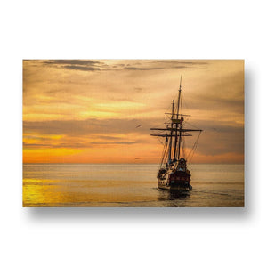 Old Ship on Golden Ocean Canvas Print in Colour