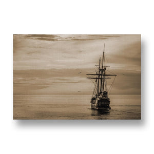 Old Ship on Golden Ocean Canvas Print in Sepia