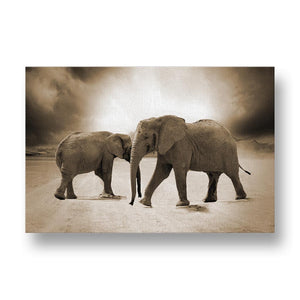 Elephants in Desert Canvas Print in Sepia