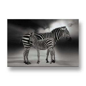 Zebra with Baby Canvas Print in Black and White