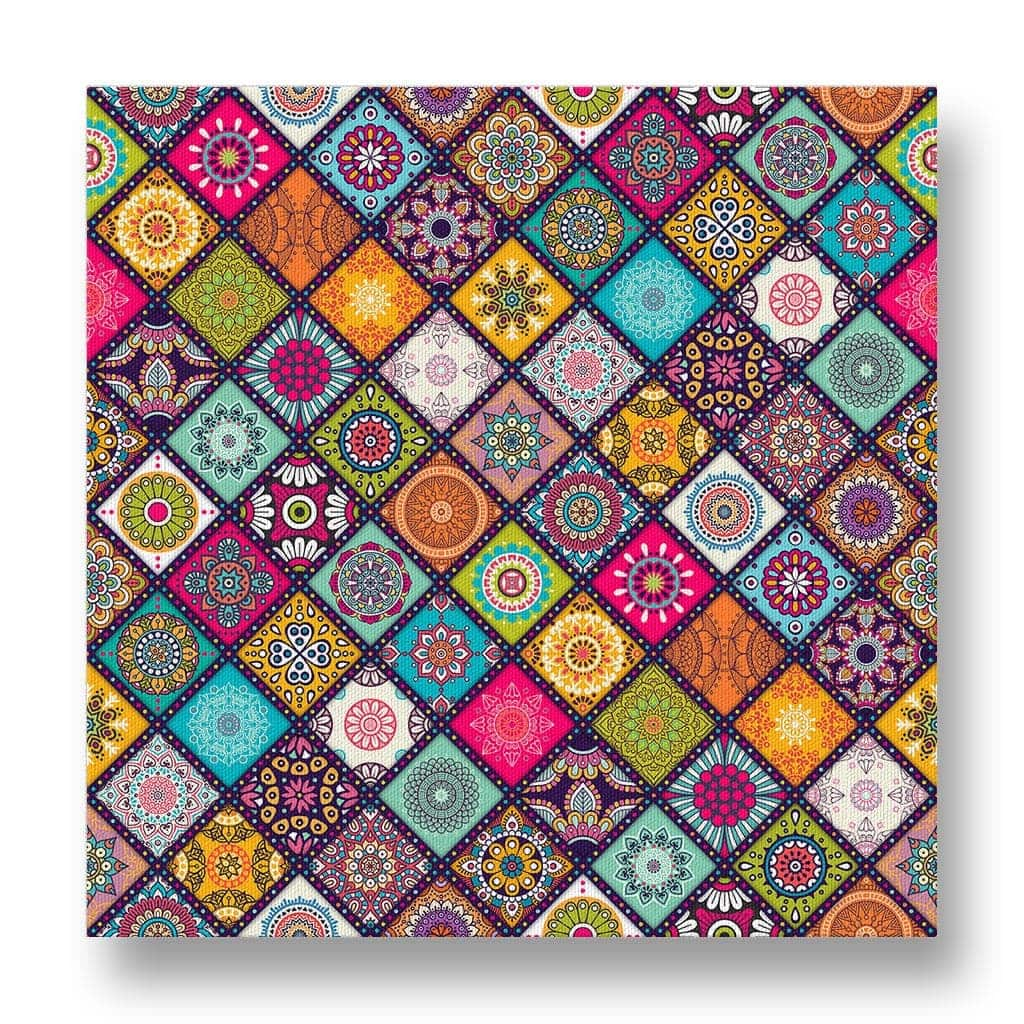 Diagonal Floral Mosaic Pattern Canvas Print