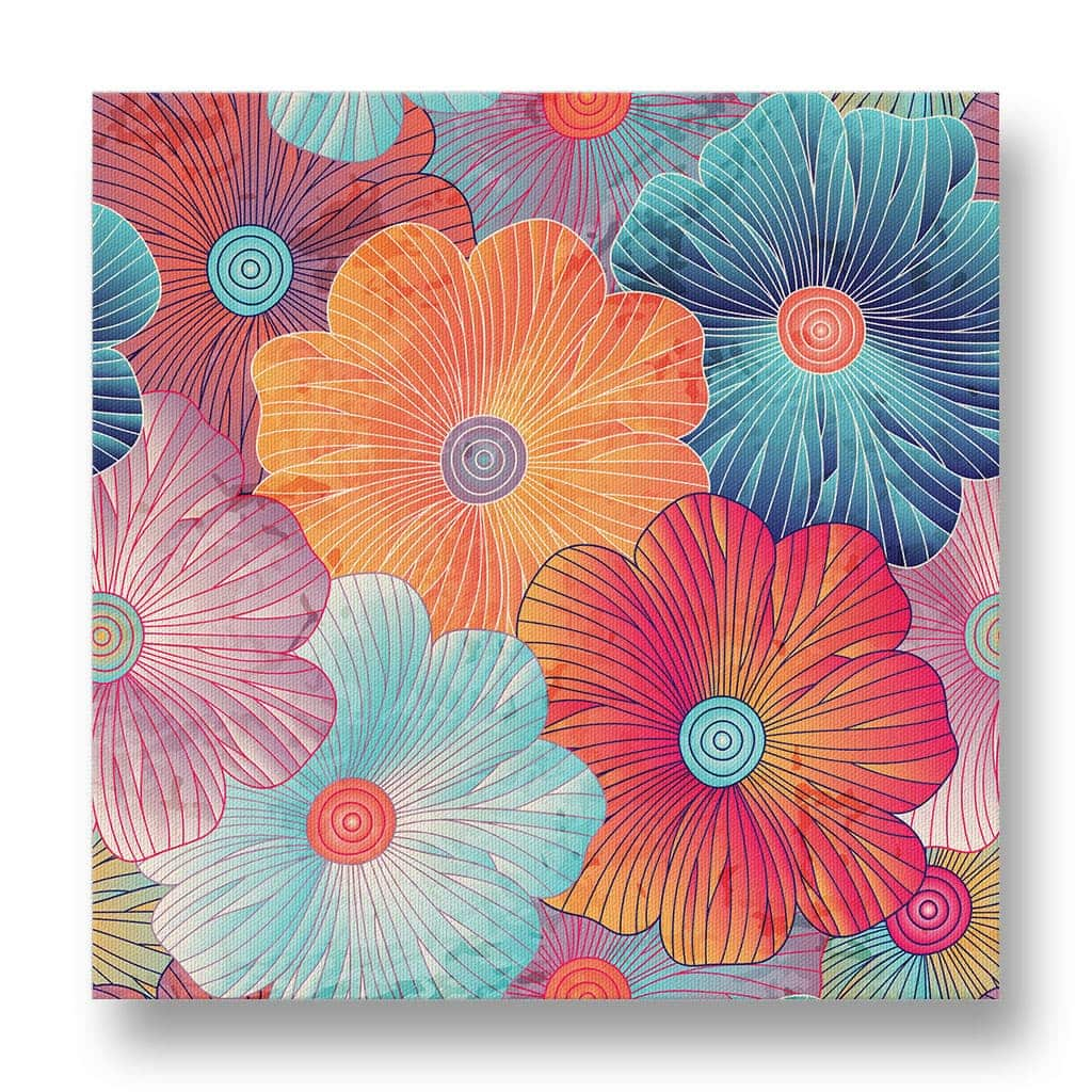 Large Flower Pattern Canvas Print