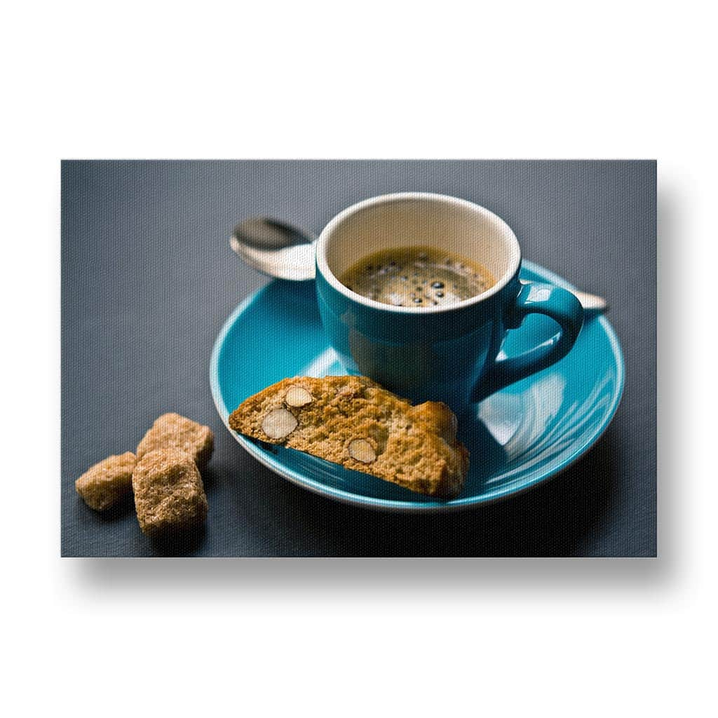 Espresso in a Blue Cup Canvas Print