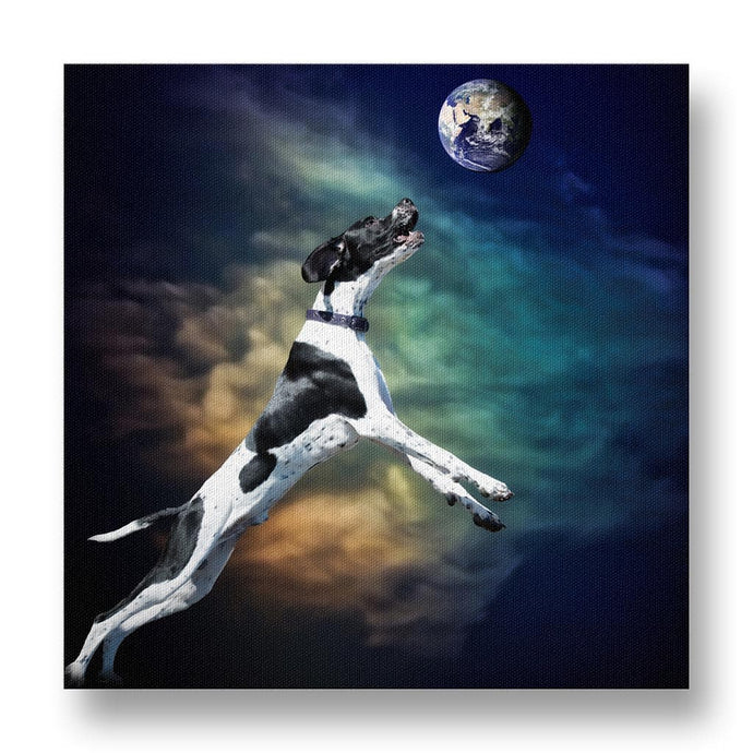 Dog Catching the Earth Canvas Print