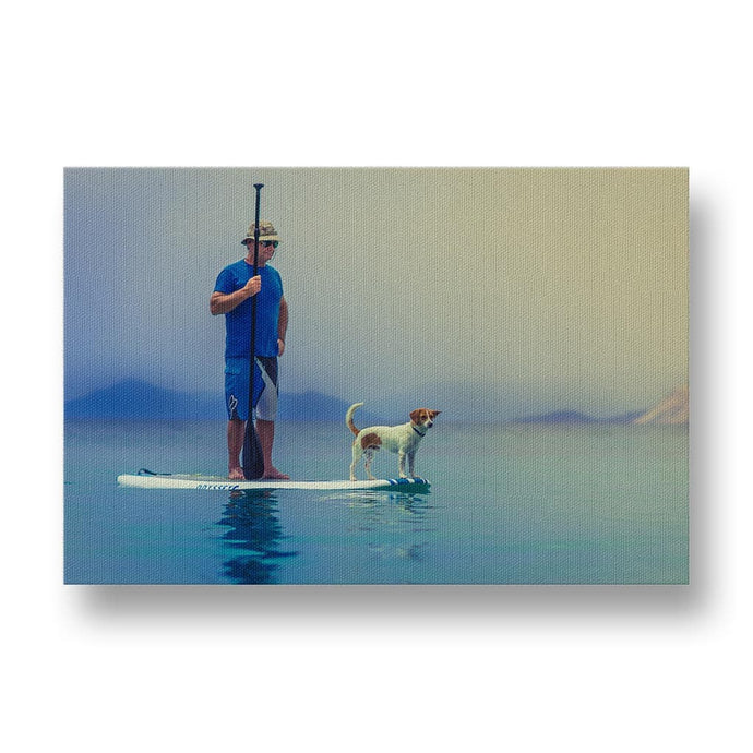 Dog with his Owner on the Water Canvas Print