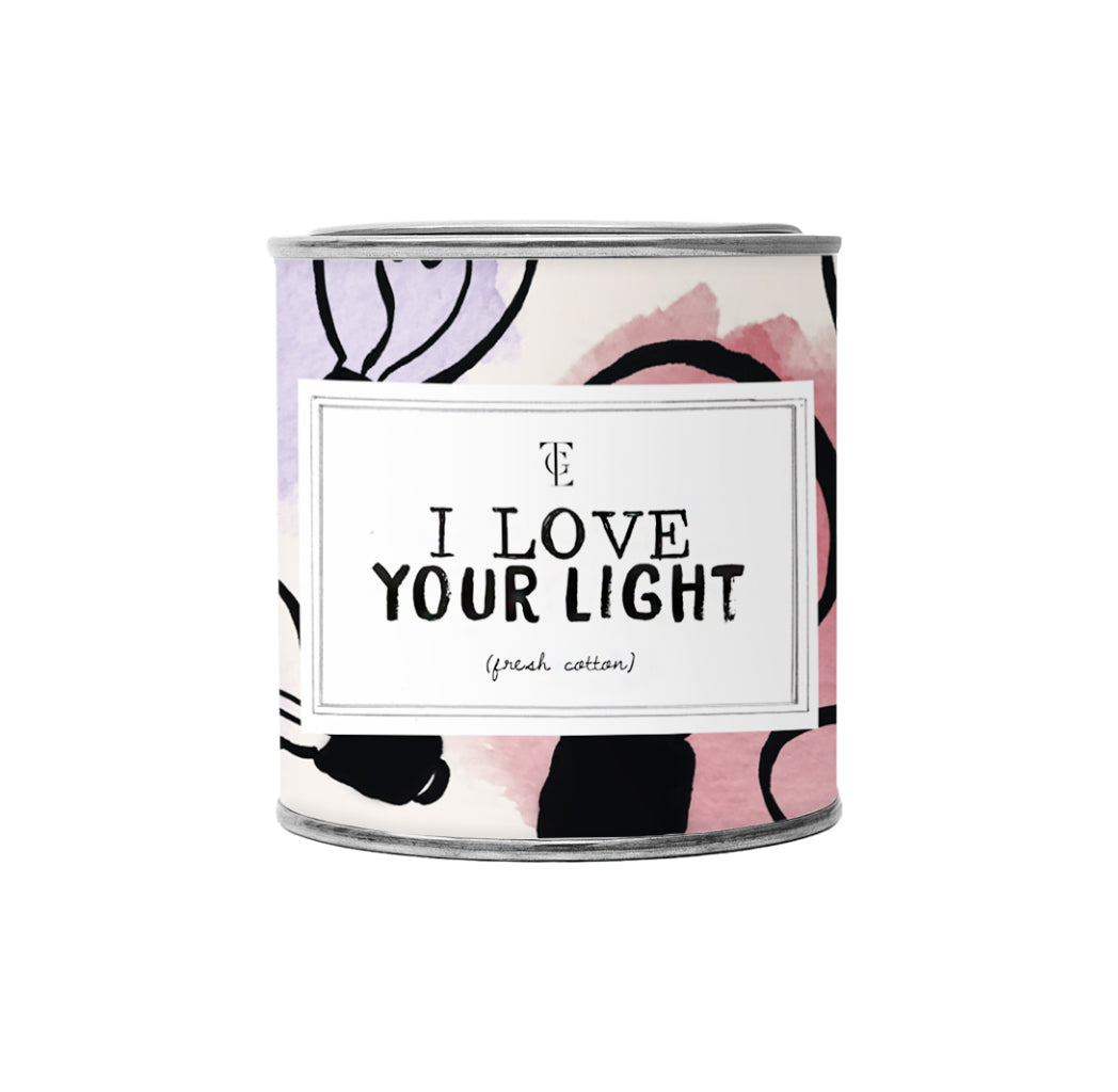Økologisk duftlys, I love your light, 90 g. Fresh cotton