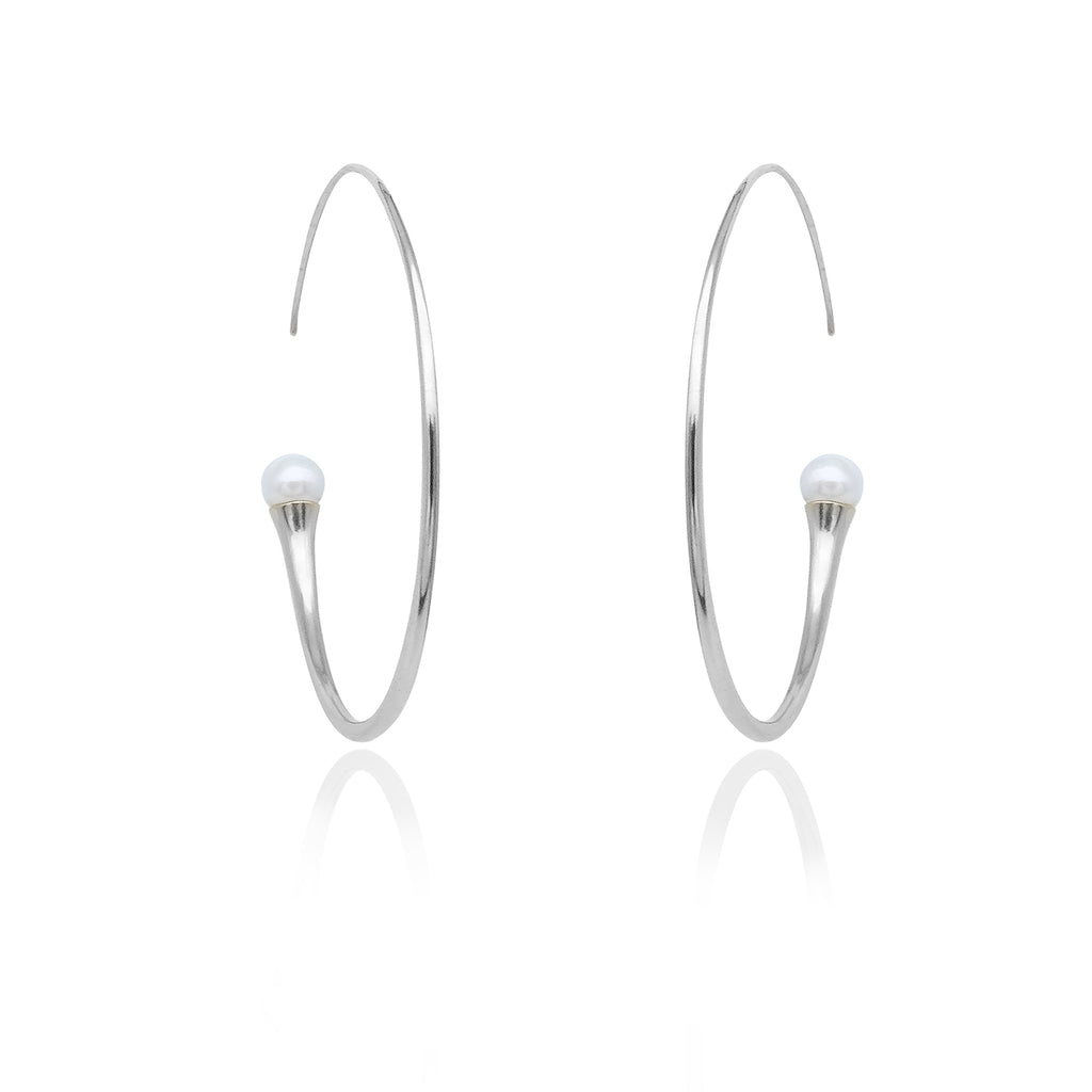 On Diet Mid Hoops with White Pearl in Rh 925Silver - ThEyes On