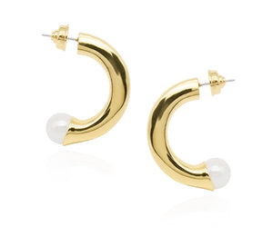 Adoring Pearl Thick Medium Hoops in 18k Gold - ThEyes On