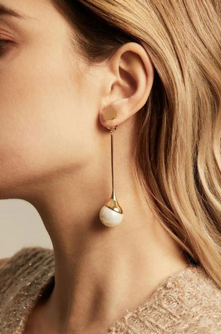 Devotion Long Dangle Pearl Earring in Rhodium 925 Silver - ThEyes On