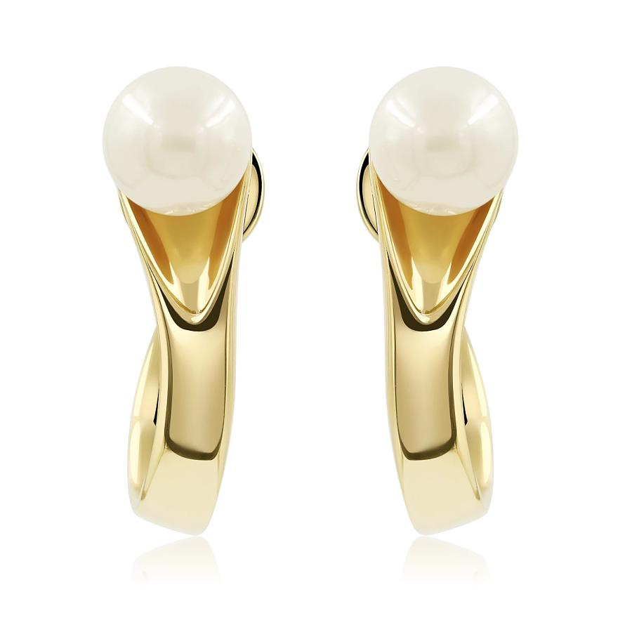 No More Tears Pearl Hoops in 18k Gold - ThEyes On