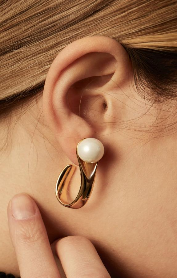 No More Tears Pearl Hoops in Rh 925Silver - ThEyes On