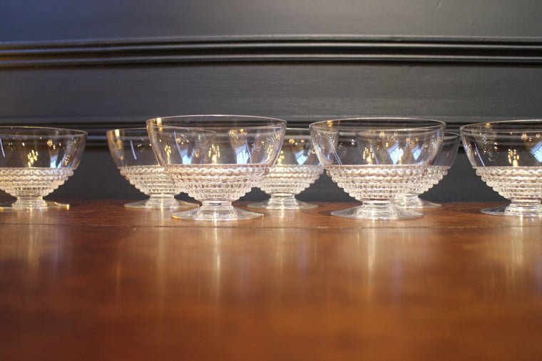 Set of 7 René Lalique crystal  glasses, modèle ''Nippon''.