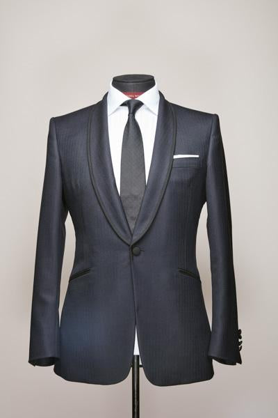 Midnight Blue Braided Shawl Lapel Suit