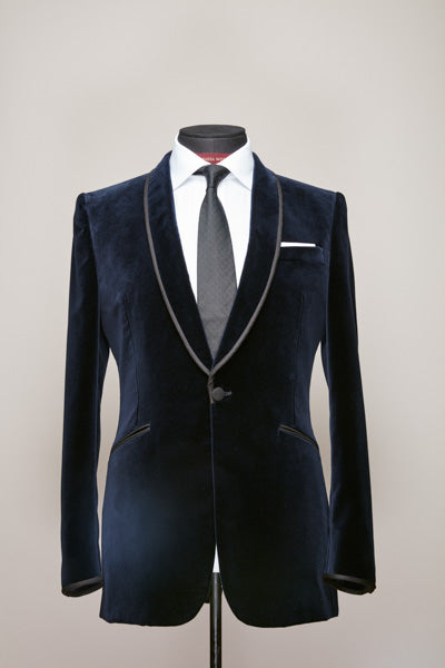Blue Velvet Shawl Collar Jacket