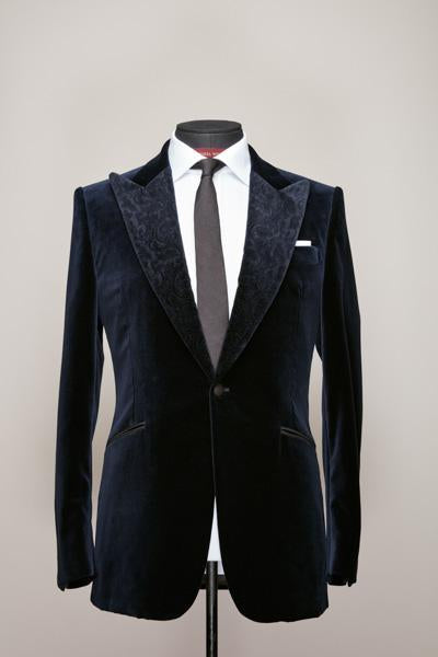 Midnight Blue Velvet Jacket with Velvet Contrast Peak Lapel