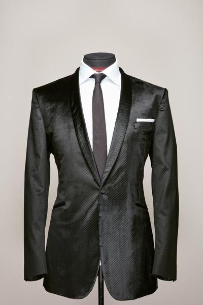 Black Shaved Velvet Jacket, Narrow Shawl Lapel